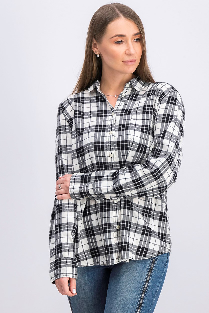 Women's Plaid Shirt, Black/White