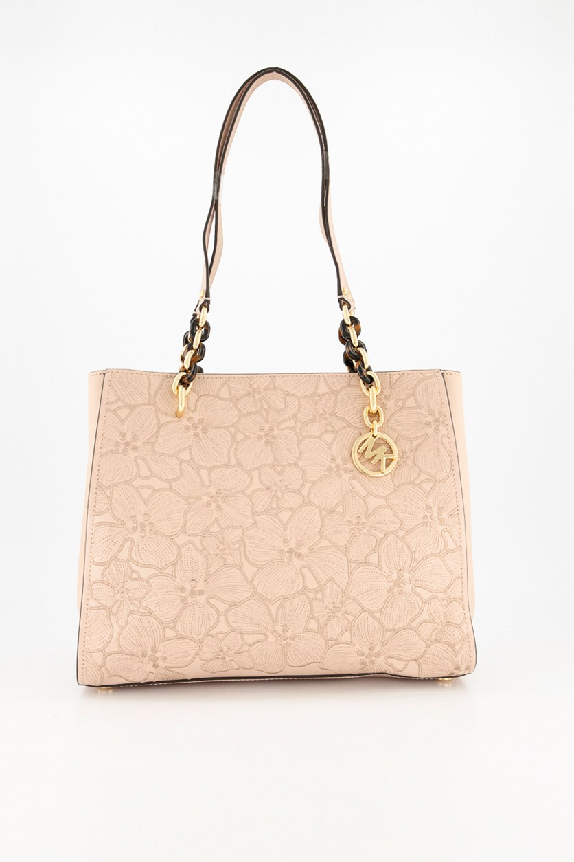 Sofia Floral Embroidered Leather Tote, Blush