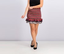 Endless Rose Women's Plaid Mini Tiered Skirt, Red