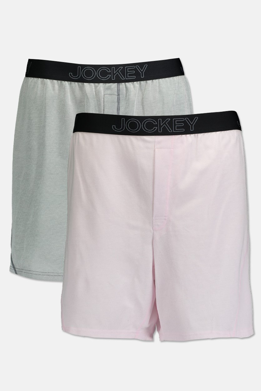 Men's 2-pack Knit No Bunch Boxers, Pink/Light Grey