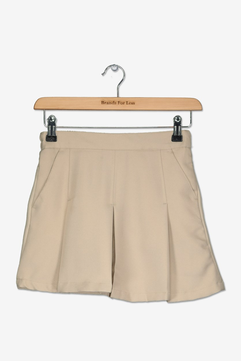 Big Girls School Uniform Pleated Skirt, Khaki