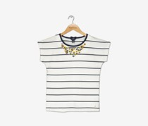 Nautica Girl's Bling Necklace Top, Off White/Navy