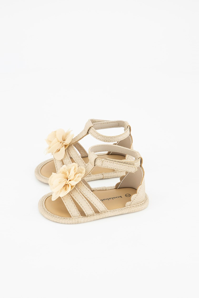 Toddler's Floral 3D Sandals, Tan