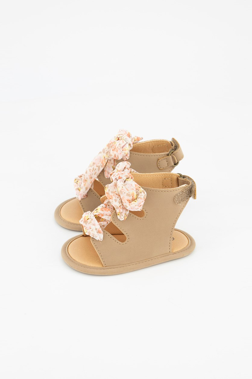 Toddler's Lace Up Sandals, Tan/Pink