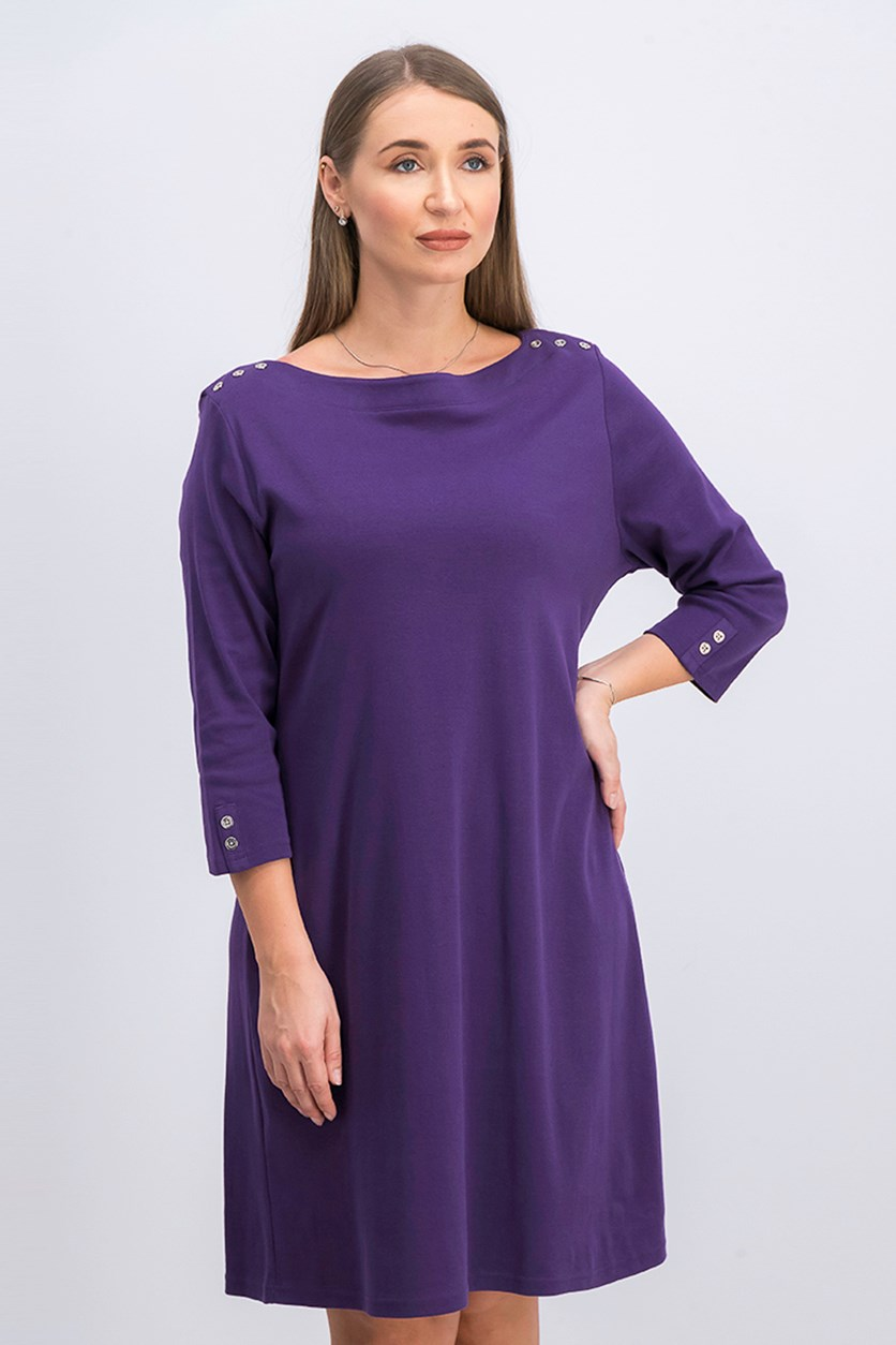 Petite Cotton Boat-Neck Dress, Cassis/Purple