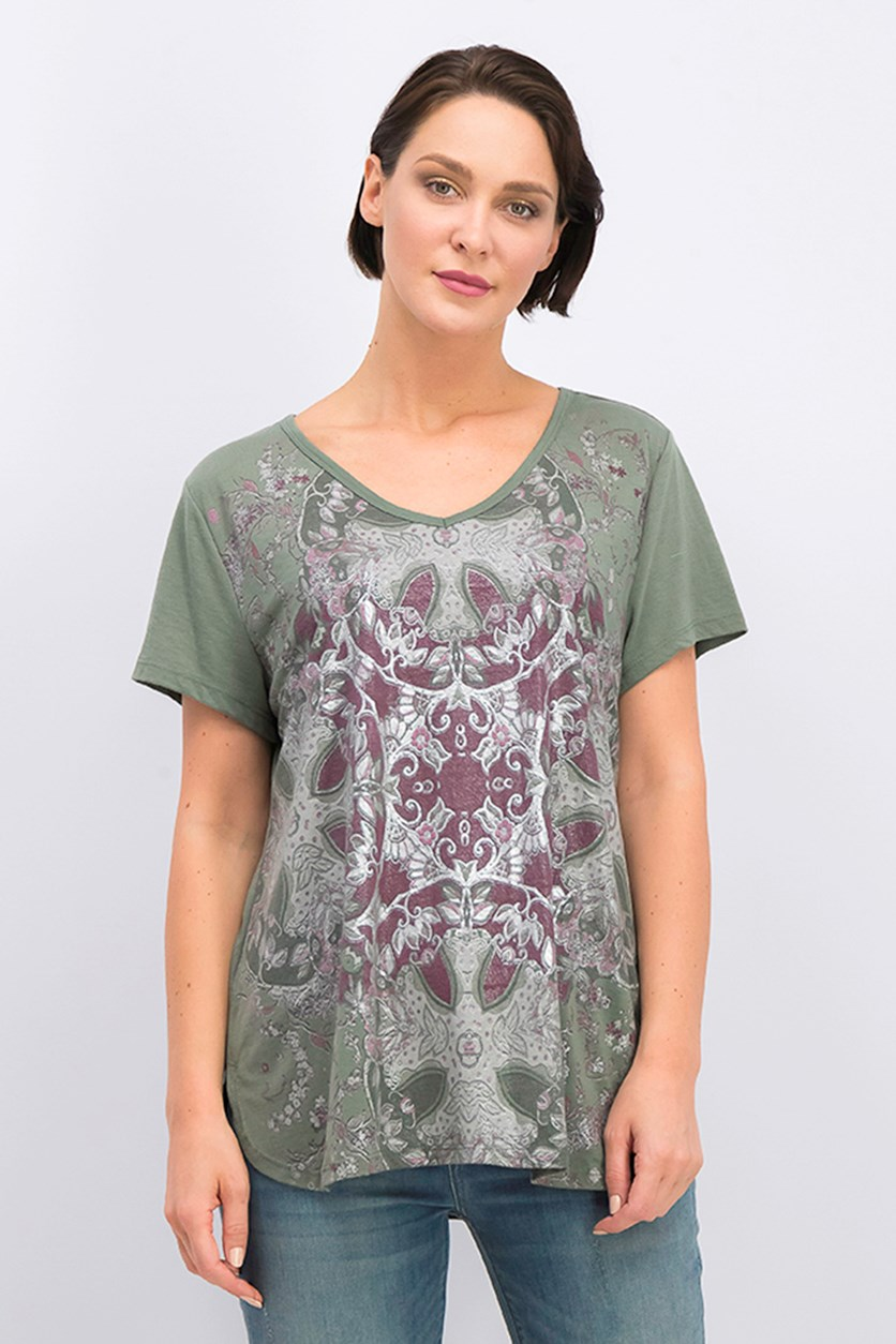 Graphic Fantasy-Print T-Shirt, Lotus Green