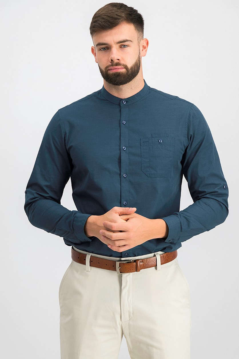 Men's Band-Collar Utility Shirt, Peacock Combo