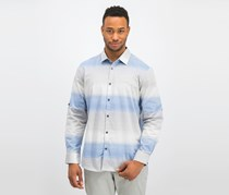 Alfani Men's Regular-Fit Ombre Stripe Shirt, Hyper Blue