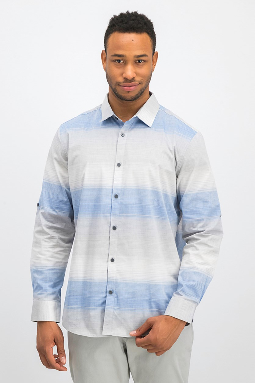 Men's Regular-Fit Ombre Stripe Shirt, Hyper Blue