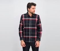 Men's Brushed Plaid Shirt, Black/Red/Grey