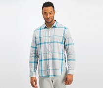 Alfani Men's Brushed Plaid Shirt, Electric Teal