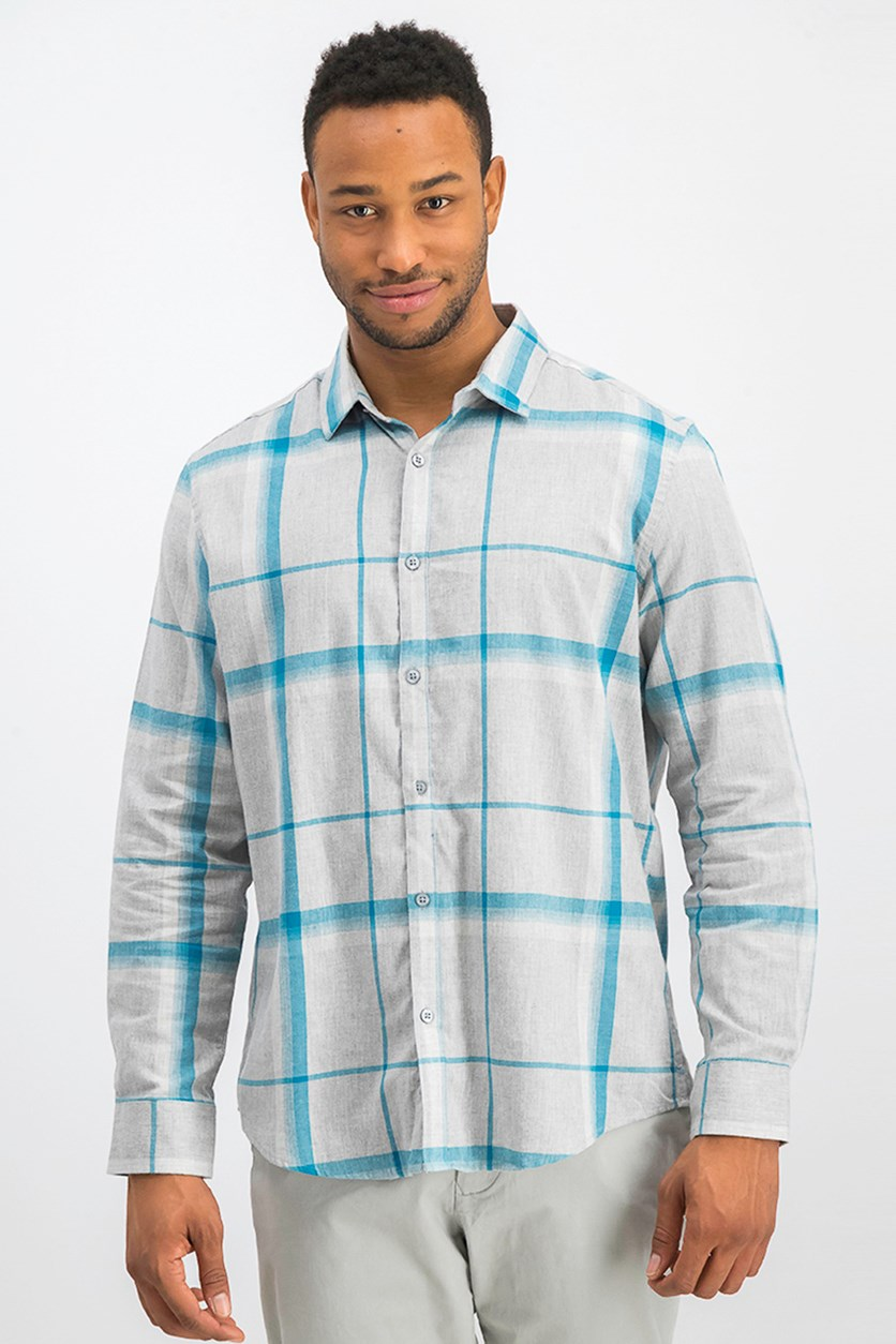 Men's Brushed Plaid Shirt, Electric Teal