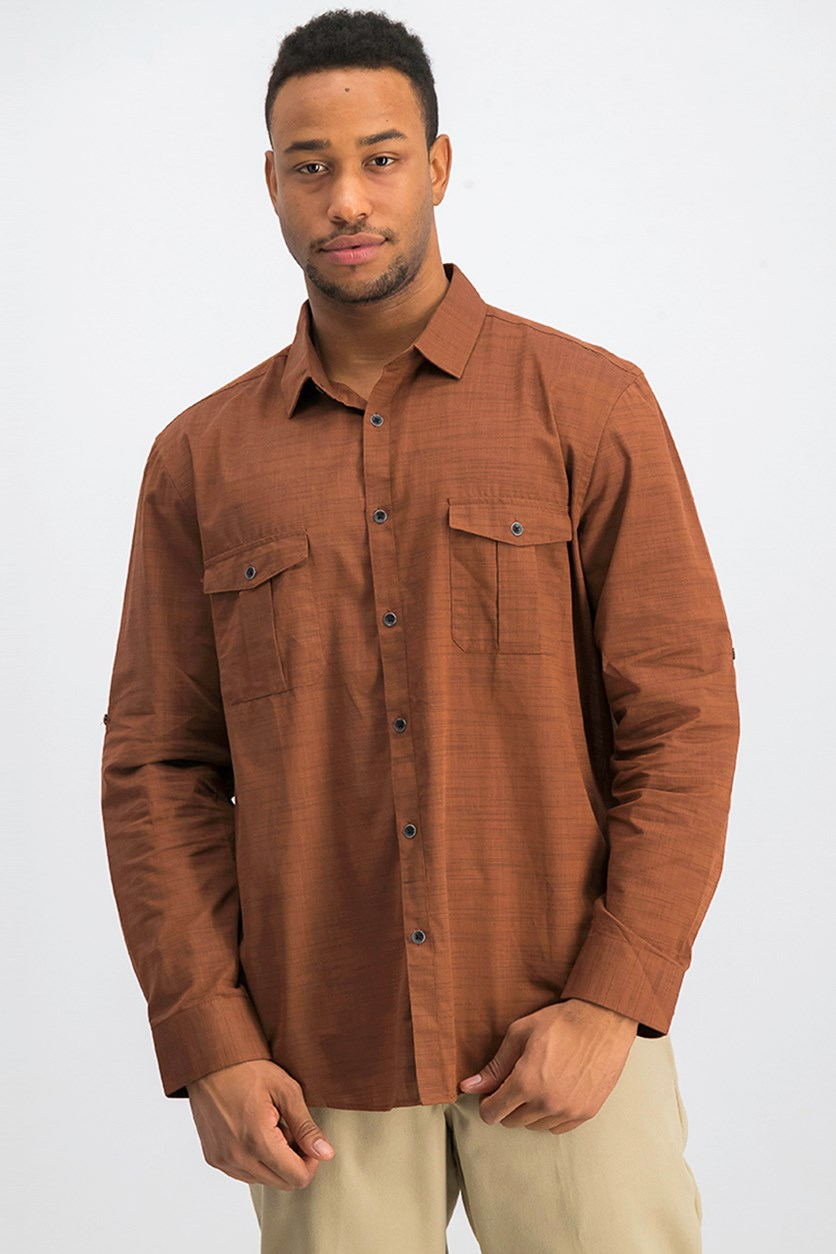 Men's Warren Long Sleeve Shirt, Rich Cognac