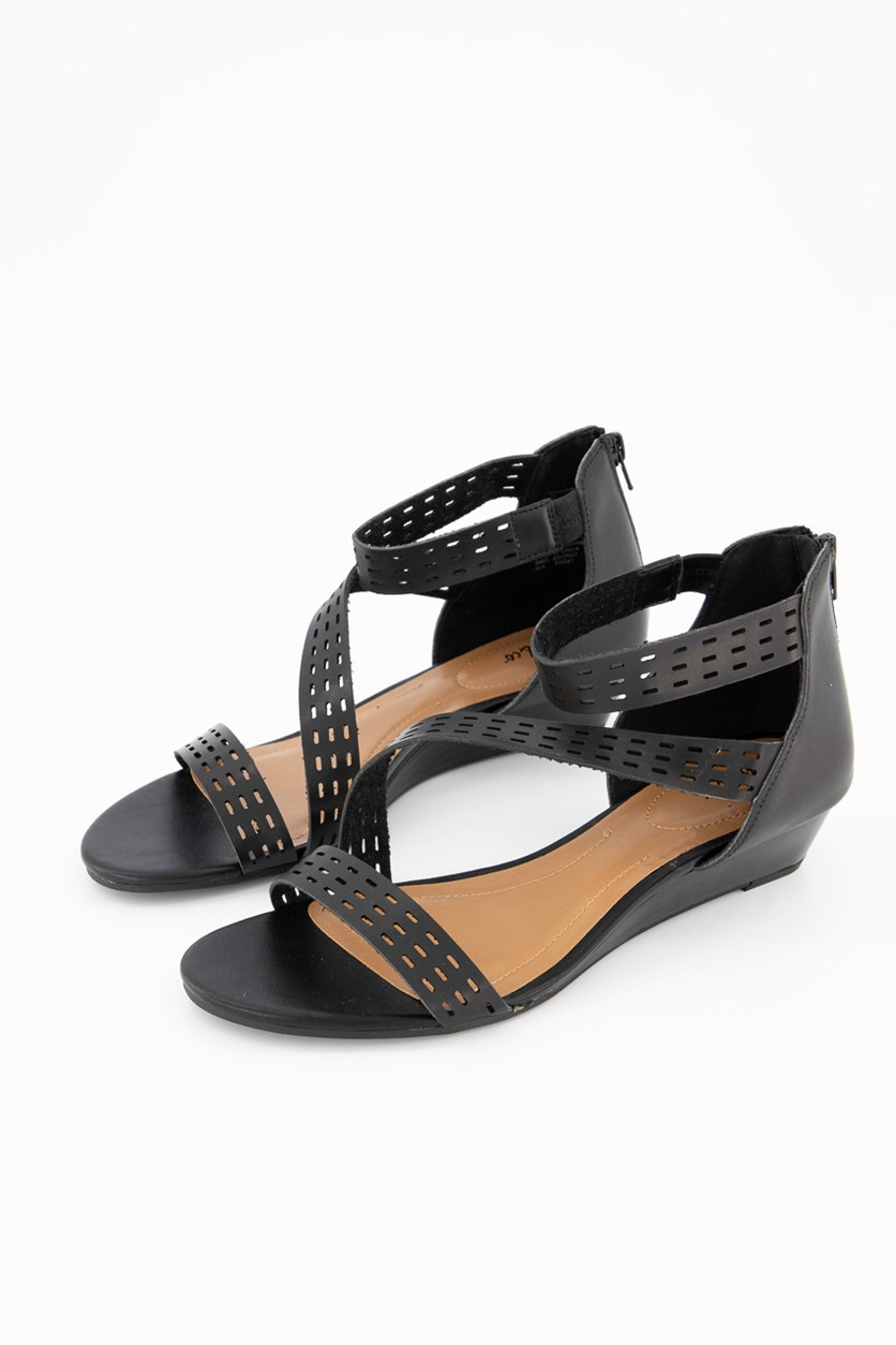 Giordi Wedge Sandals, Black