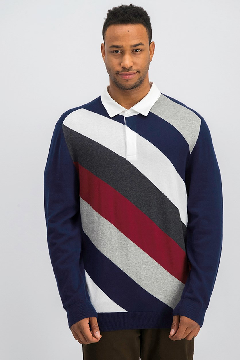 Mens Striped Rugby Polo, Navy Blue Combo