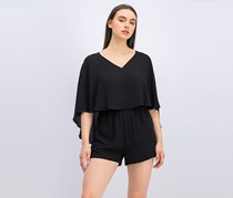 Bcbgmaxazria Carie Cape Top Romper, Black