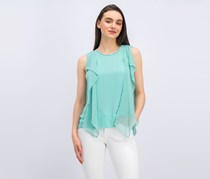 BCBG Maxazria Women's Ivorie Open Back Top, Light Aqua