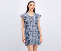 Bcbgmaxazria Caralyne Lace-Up Eyelet Dress, Chambray Blue