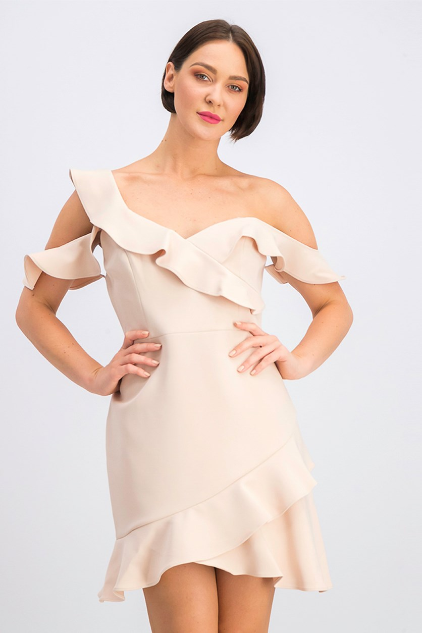 Malik Asymmetrical Off-The-Shoulder Dress, Bare Pink