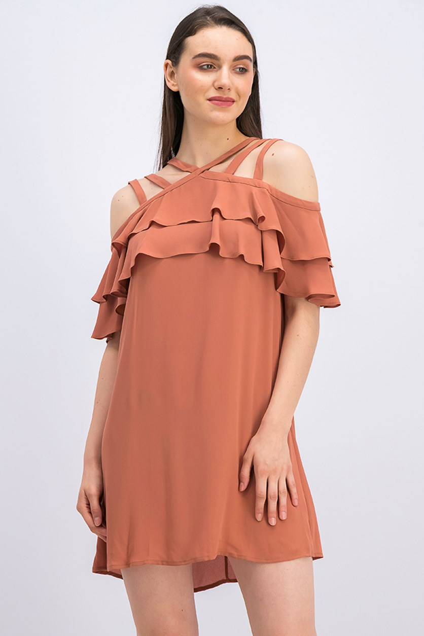 BCBG Maxazria Women's Chelsey Ruffle Dress, Cedarwood