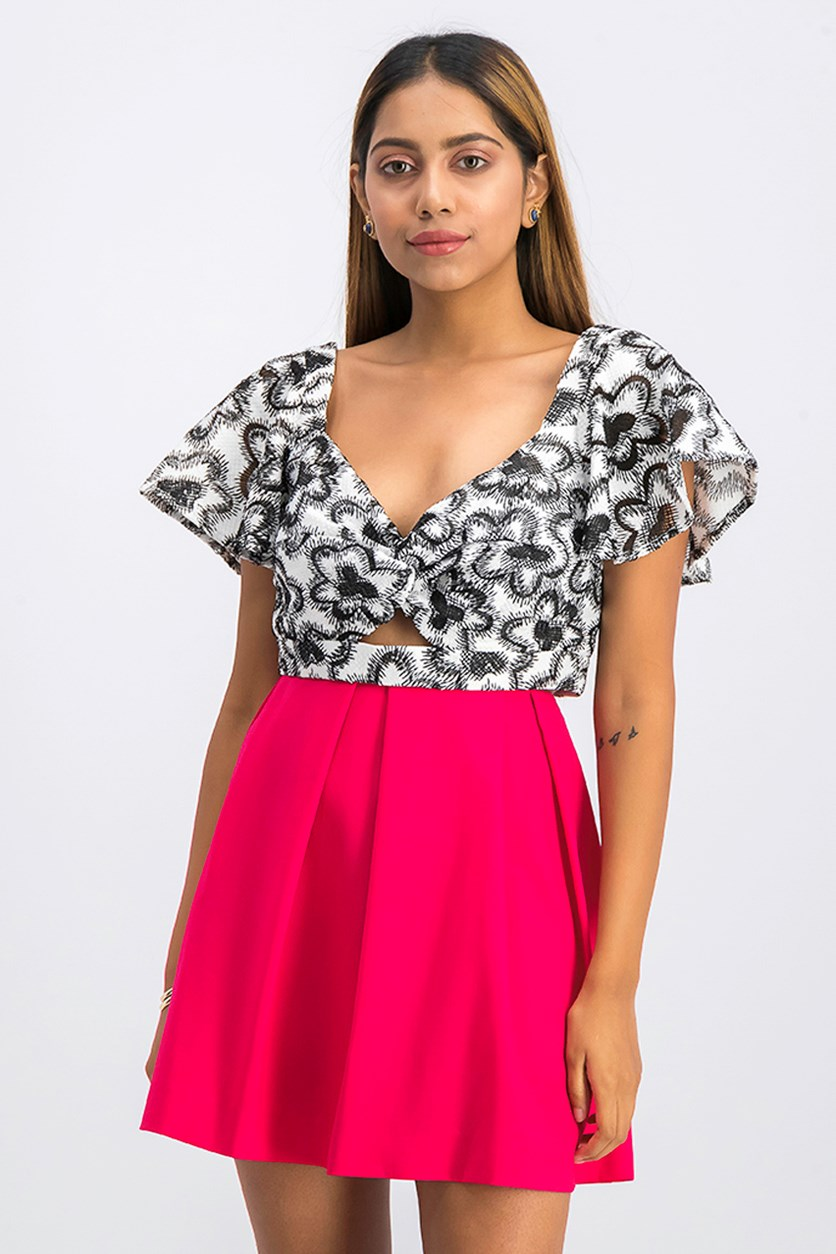 Floral Embroidered Crop Top, Black/White