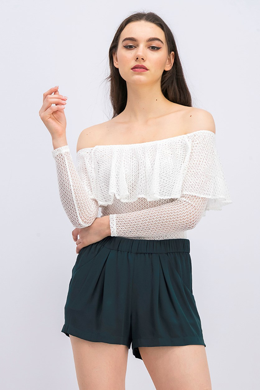 Ruffled Off-the-Shoulder Lace Bodysuit, White