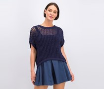 Open-Knit Back-Tie Top, Pacific