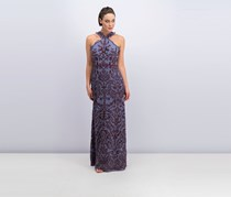 Bcbgmaxazria Embroidered Chiffon Halter Maxi Dress, Purple Combo