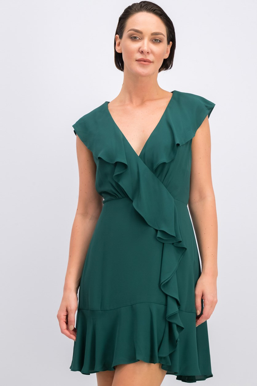 Deborah Cascading Ruffle Dress, Green