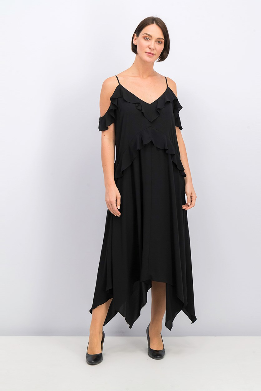 Women Lissa Asymmetrical Slip Dress, Black