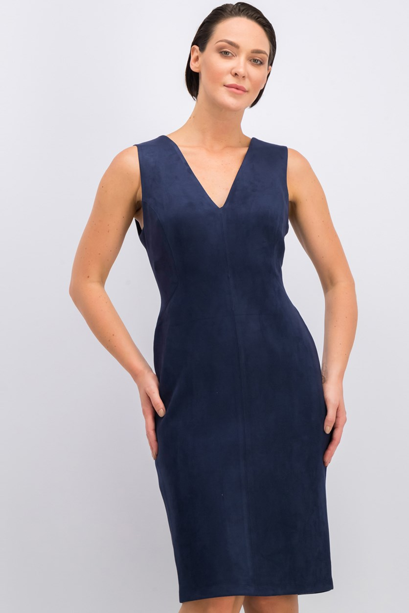 Alda Faux-Suede Dress, Dark Navy