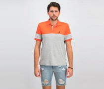 Men's Classic Fit Colorblocked Interlock Polo, Orange/Grey