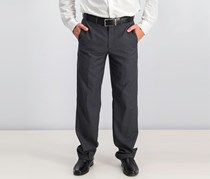 Solid Modern Fit Pants, Grey