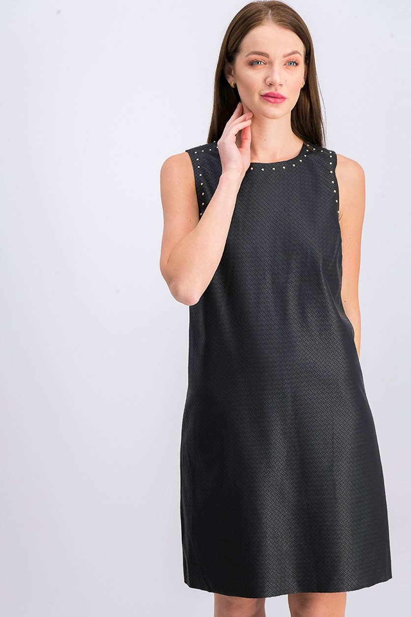 Women's Studded Sleeveless Dress, Black
