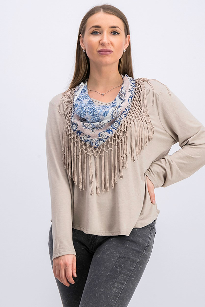 Petite Scarf-Neck Fringed Top, Neutral Heather