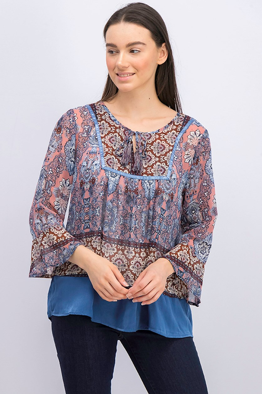 . Women's Printed Peasant Flutter-Sleeve Top, Paisley Empress