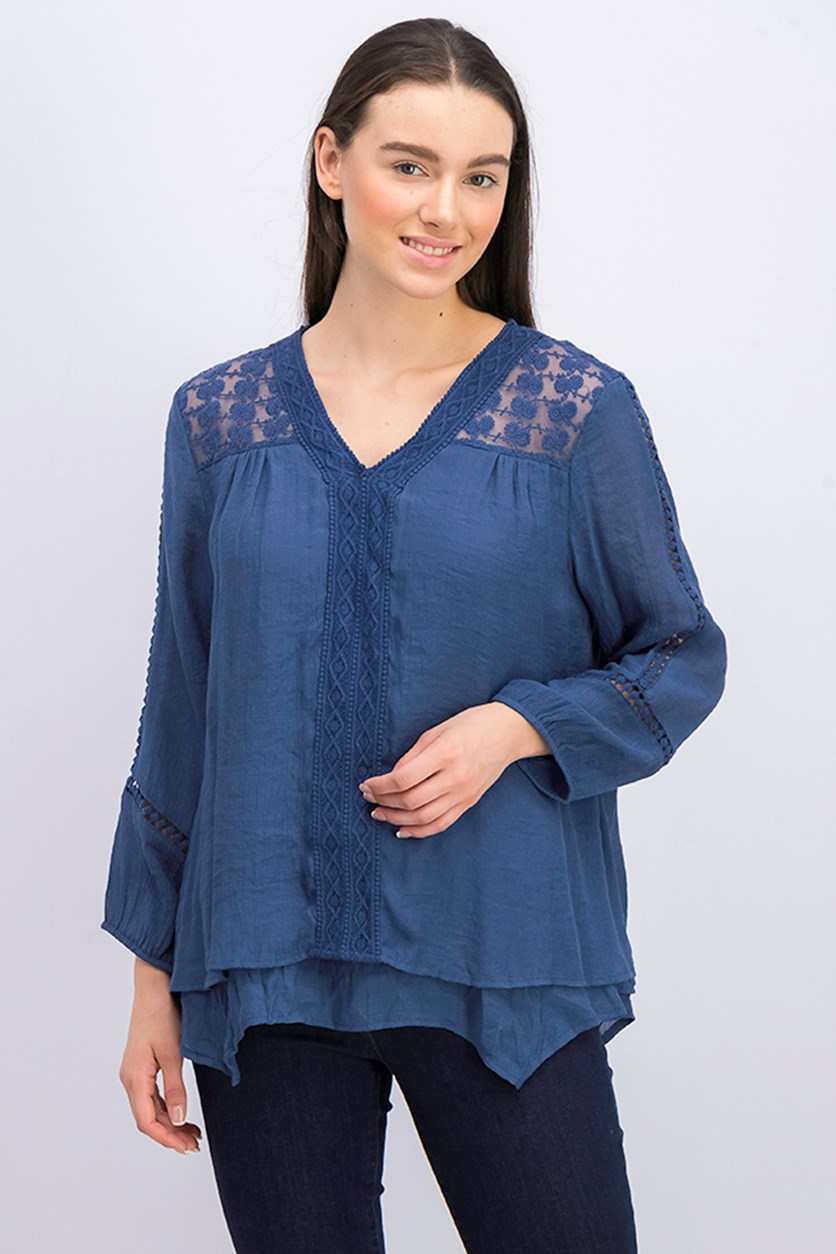 Plus Size Layered-Hem Top, New Uniform Blue