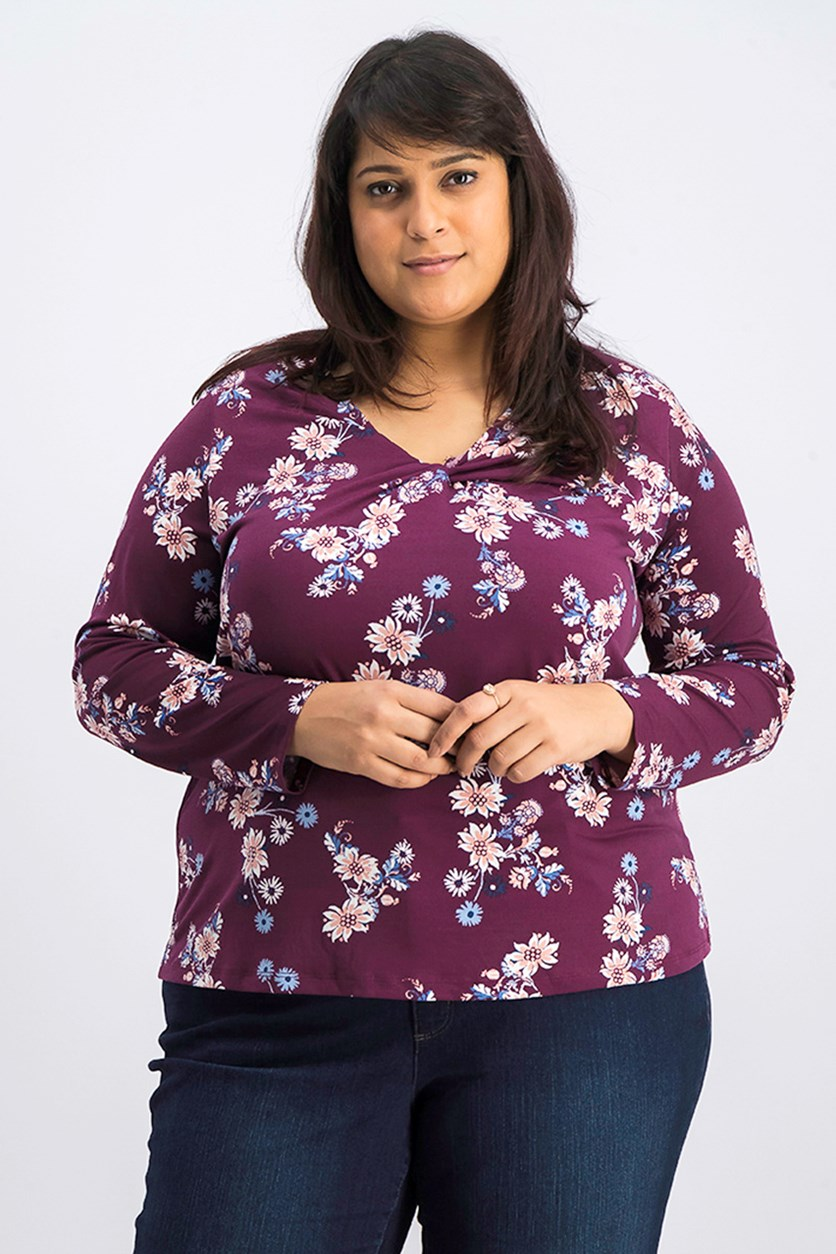 Plus Size Printed Twist-Neckline Top, Party Garden