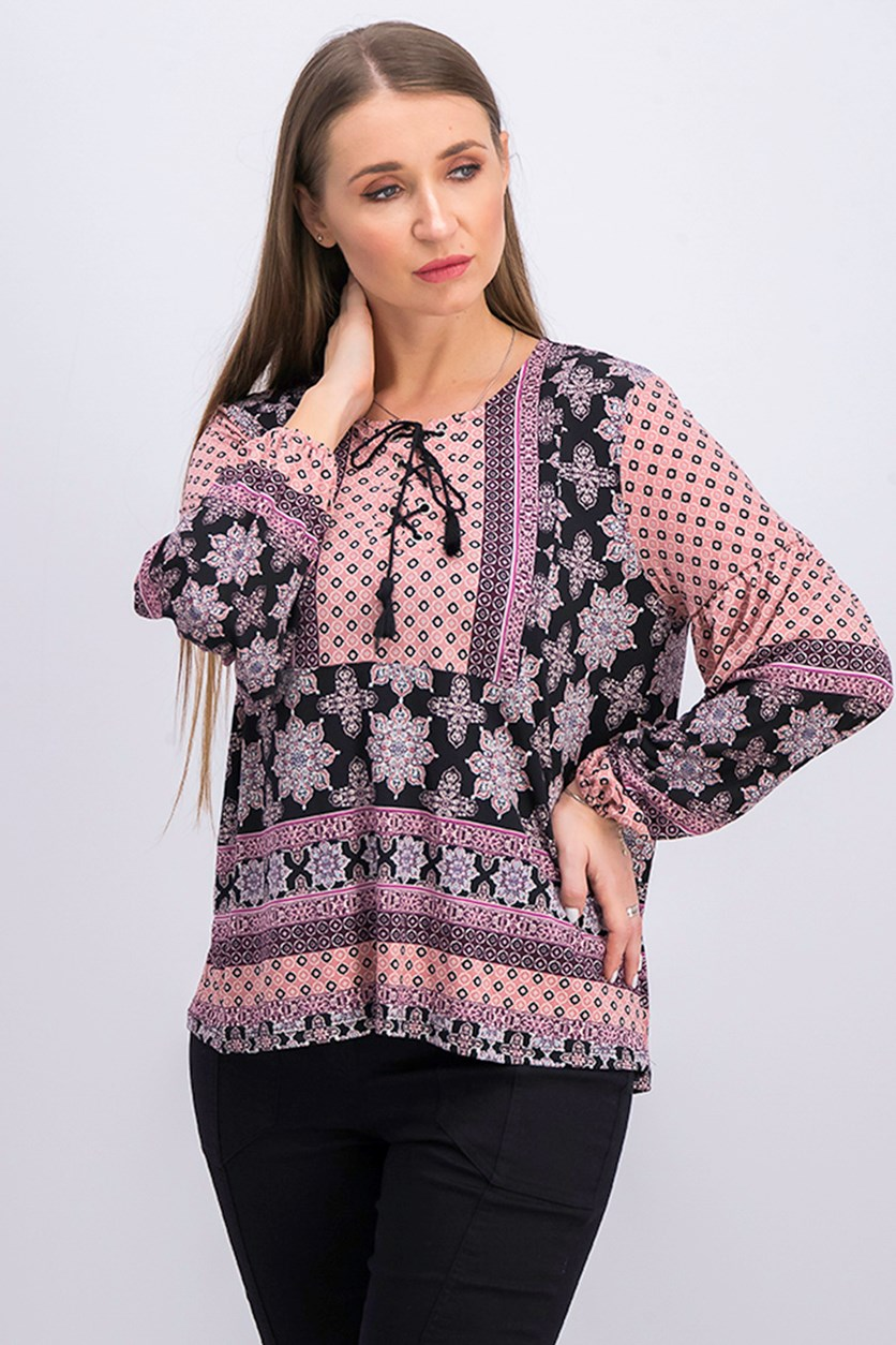 Petite Printed Lace-Up Peasant Top, Empress Scarf