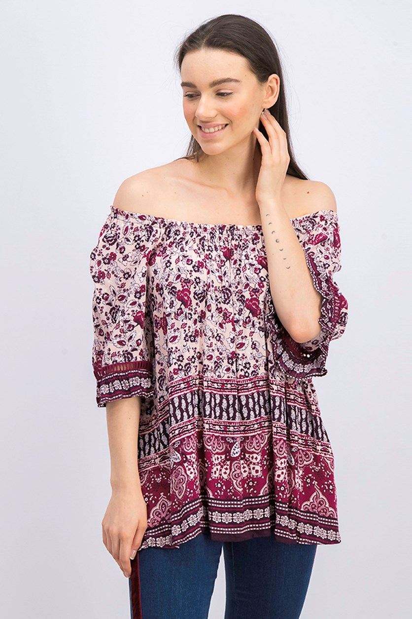 Off Shoulder Print Top, Pink Combo
