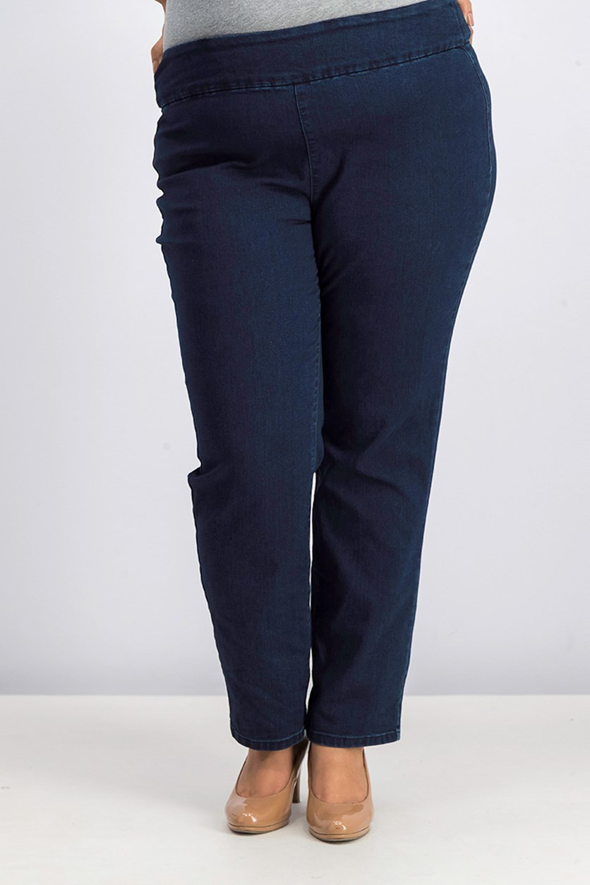 Women Plus Size Stretch Denim Pull-On Jeans, Blue