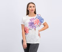 INC Sequined Floral T-Shirt, Bright White