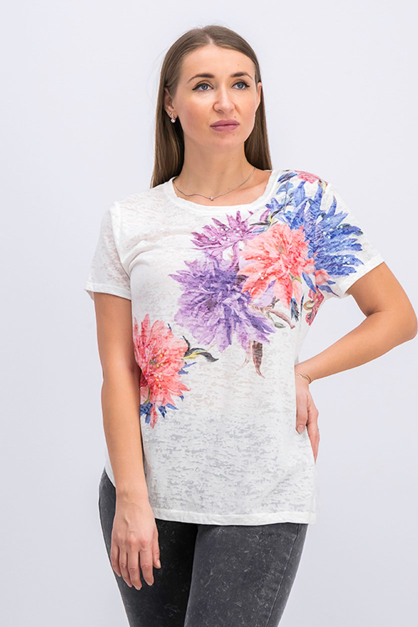 Sequined Floral T-Shirt, Bright White