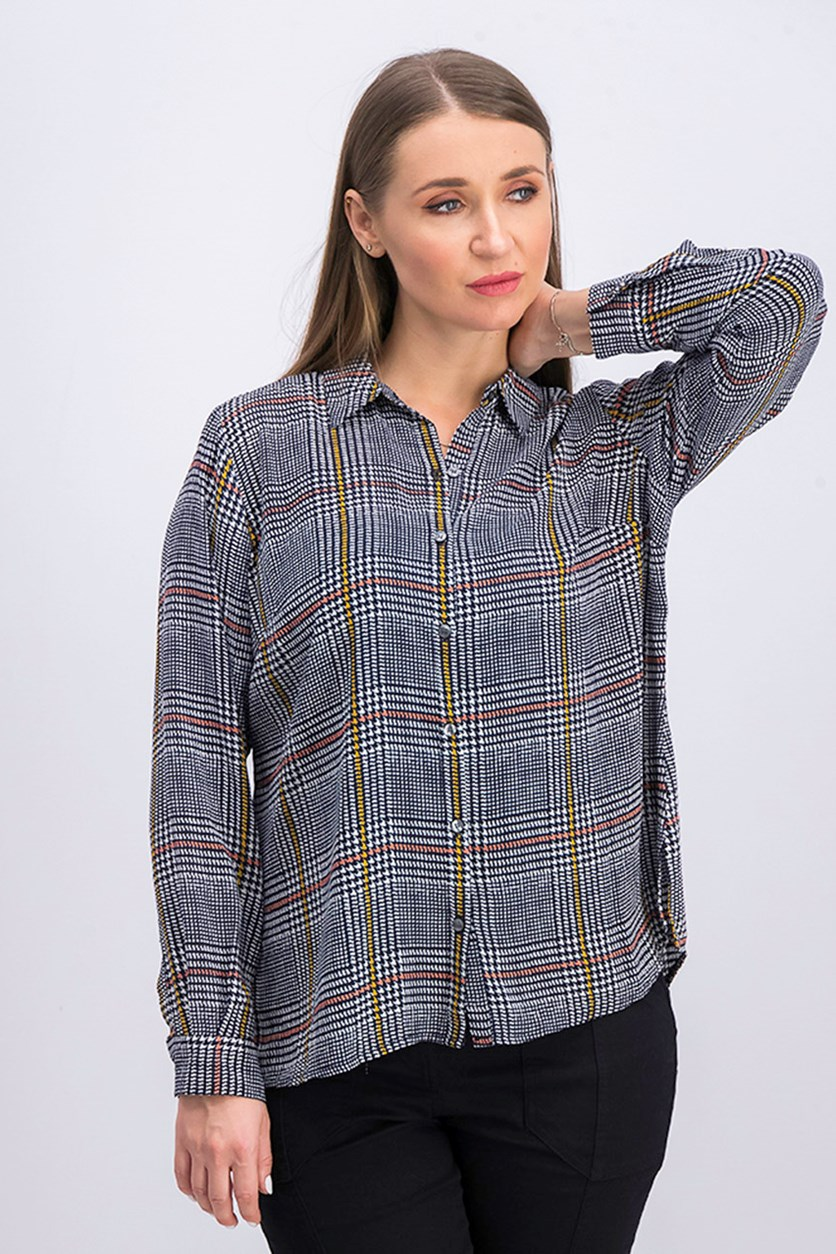Petite Plaid Shirt, Cloud Combo