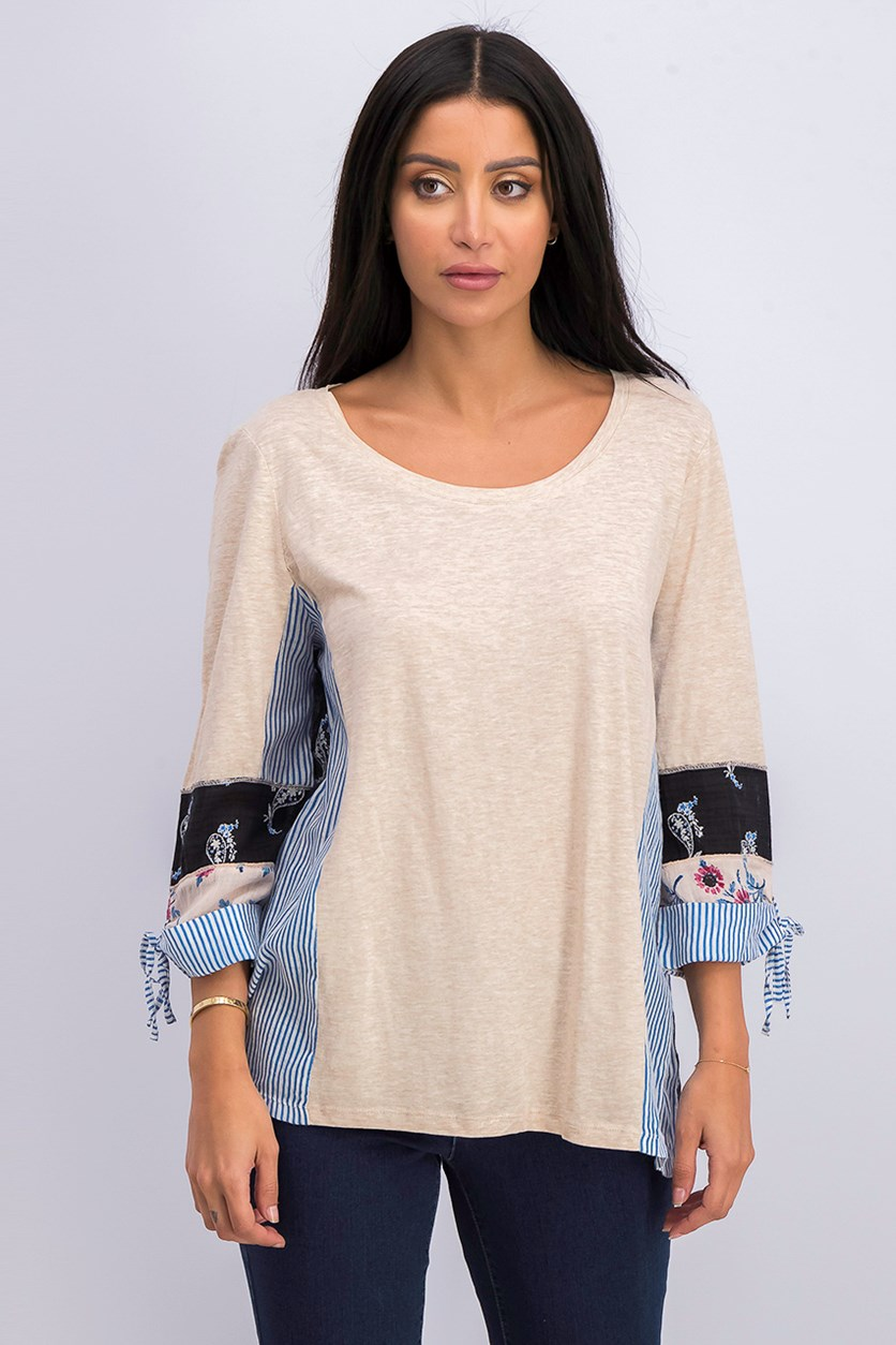 Women's Three Quarter Sleeve Top, Beige/Blue/Black
