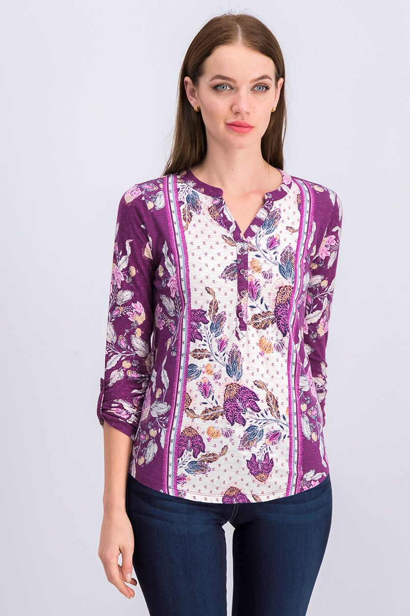Petite Mixed-Print Utility Top,Purple/White/Yellow