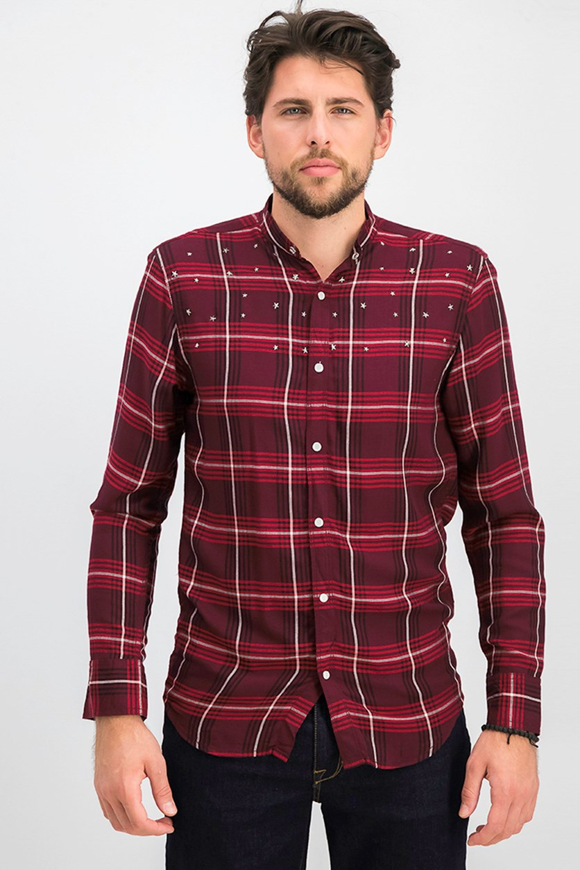 Men's Long Sleeves Button Down Casual Shirt, Red/Maroon
