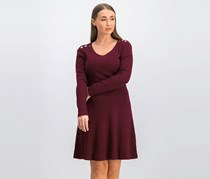 Ribbed Sweater Dress, Ruby