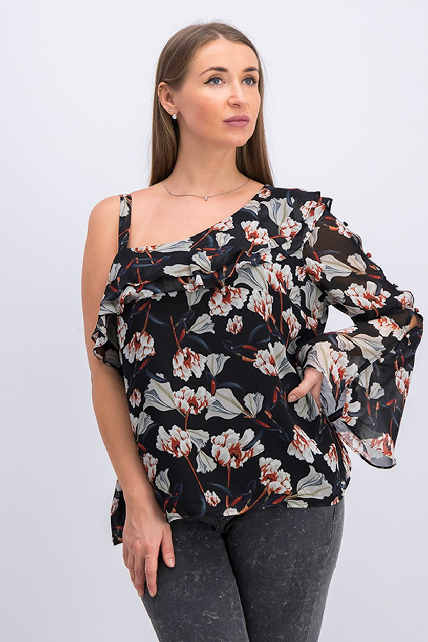 Womens Floral Drapey Blouse, Blooming Begoni