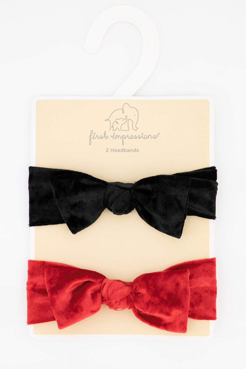 Baby Girls 2-Pk. Velvet Headband, Black/Red